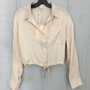 Toby & Olive Crop Draw String Champagne Blouse
